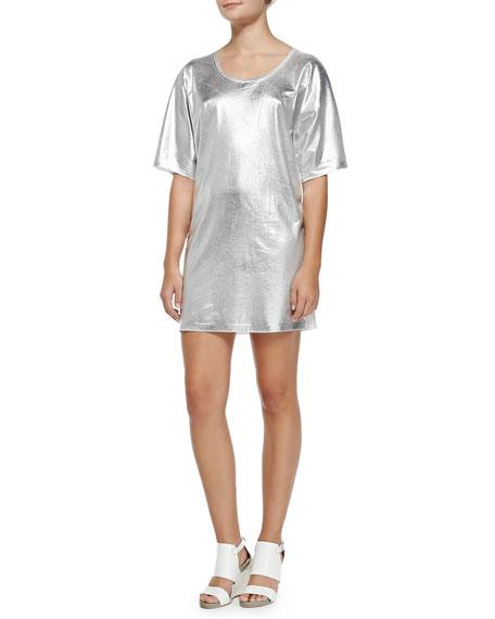 49b321aa6f McQ Alexander McQueen Short-Sleeve Silver Foil T-Shirt Dress