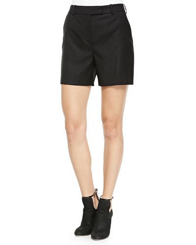 Wool Tuxedo Shorts, Black