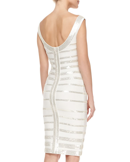 Fatima Sequin Striped Dress, Alabaster Combo