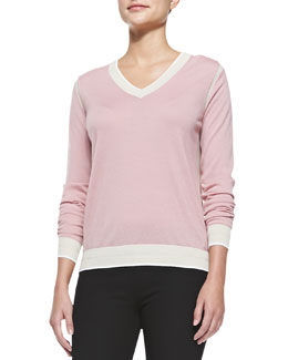 Contrast-Trimmed V-Neck Sweater, Pearl