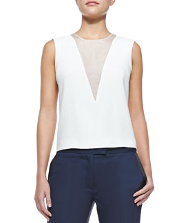 Fan Sheer-Inset Sleeveless Blouse