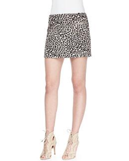 Perk Leopard-Print Zip Miniskirt