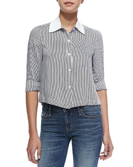Alice + Olivia Amy Striped Cropped Poplin Blouse