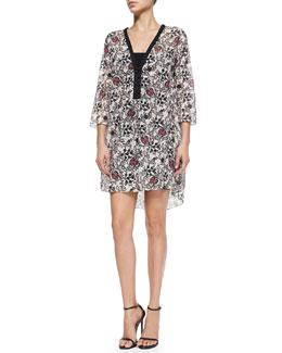 Scroll-Print Dress W/ Half Placket