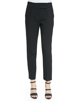 Pleated Cropped Suit Pants