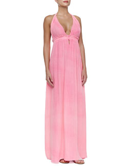 Braided Halter Cotton Maxi Dress