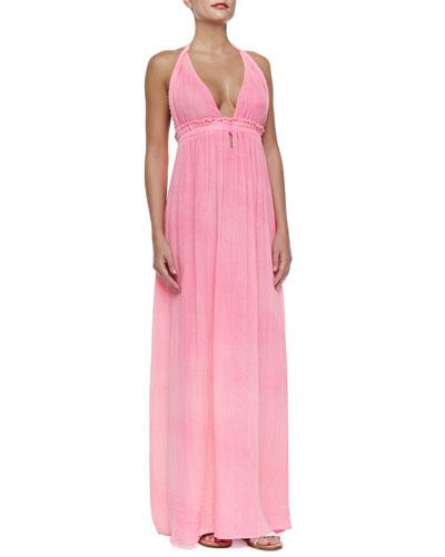 Braided Halter Cotton Maxi Dress