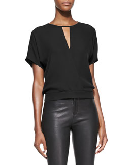 Theory Blair Short-Sleeve Blouson Top