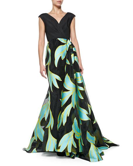 V-Neck Wrap-Overlay Ball Gown