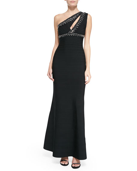 Sarina Jewel-Beaded Bandage Gown, Black