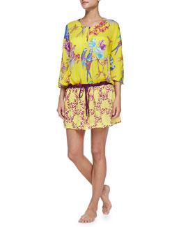 Tropical-Print Tunic W/ Drawstring