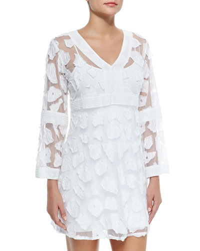 Long-Sleeve Mesh/Applique Coverup