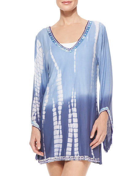 Ocean Blues Tie-Dye Beaded Coverup