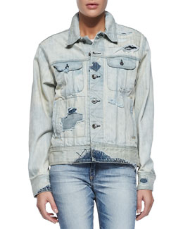 Surf Distressed Boyfriend Jean Jacket, Blue