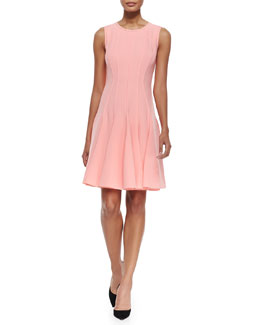 Patti Sleeveless Godet-Skirt Dress