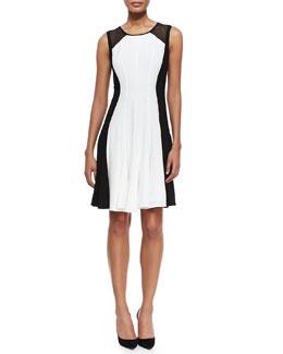 Pattie Sleeveless Flared Colorblocked Dress