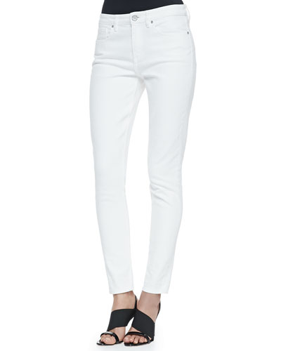Azella Cropped Skinny Jeans, White