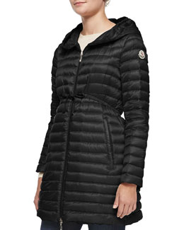 Barbel Hooded Down-Fill Knee-Length Jacket, Black