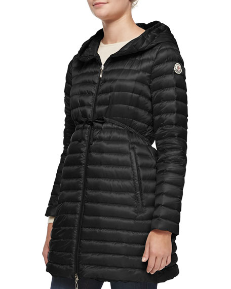 moncler barbel hooded downfill kneelength jacket black
