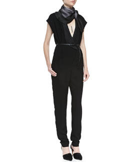 Short-Sleeve Jumpsuit W/ Plunge Neck