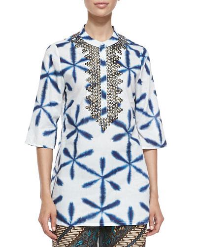 Jasmine Tie-Dye Bead-Neck Tunic