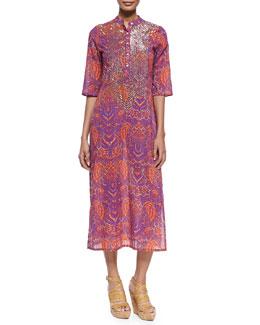 Thandie Beaded Batik-Print Caftan Dress