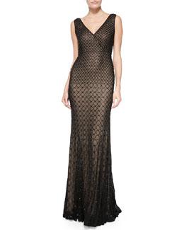 Willow V-Neck Embellished Georgette Gown, Black