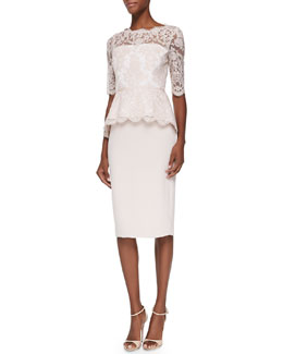 Evelyn Half-Sleeve Lace-Bodice Dress