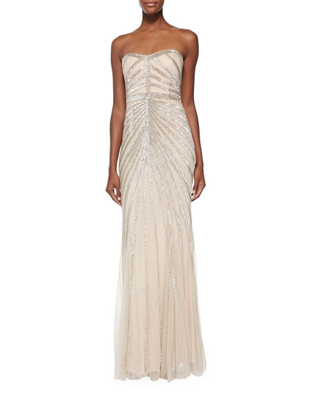 Blair Strapless Beaded-Pattern Gown