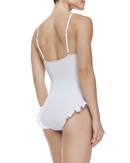 f669ccb1daaf6 Michael Kors Collection Ruffled Eyelet Underwire One-Piece Swimsuit