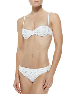 Floral-Applique Underwire Bikini Set