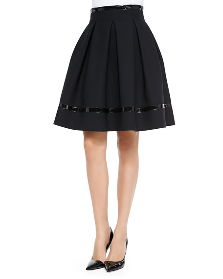 Patent Leather-Trimmed Flared Skirt, Black