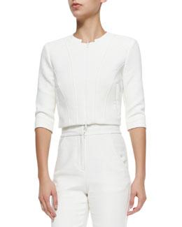 Three-Quarter-Sleeve Zip-Front Jacket, Cream