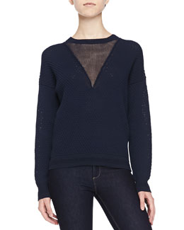Honeycomb-Stitched Contrast Sweater, Navy