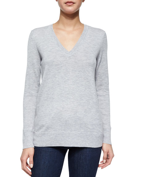 Natalie Slub-Knit V-Neck Sweater, Gray