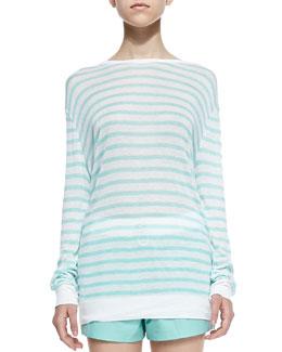Long-Sleeve Striped Linen Tee, Seafoam/White