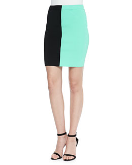 Two-Tone Stretch Pencil Skirt