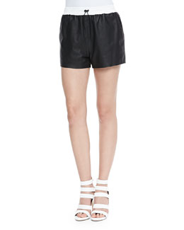 Matte Leather Shorts with Drawstring, Black