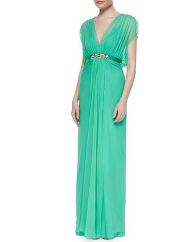 Crystal-Embellished Draped Chiffon Gown, Mint
