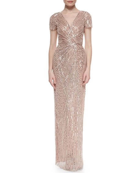 Allover Beaded Knotted Gown, Bay