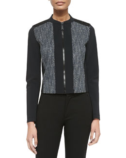 Pearson Zip-Front Mixed Media Jacket