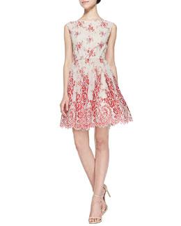 Fila Lace-Overlay Full-Skirt Dress
