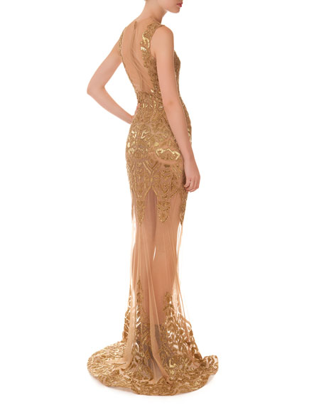Matte-Beaded Illusion Gown