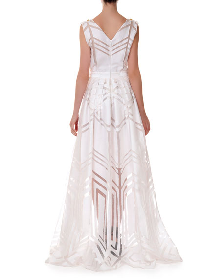 V-Neck Fil Coupe Gown