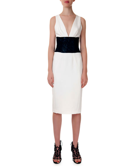 Leather-Corded V-Neck Sheath Dress