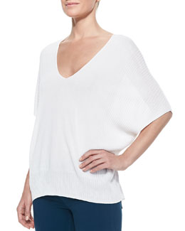 Vince Batwing-Sleeve Double-V Popover Sweater, Optic White