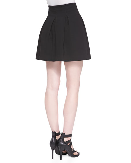 Double-Weave Cady Pleated Skirt