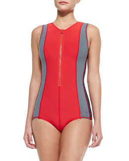 Jacky Galactic Front-Zip Swimsuit