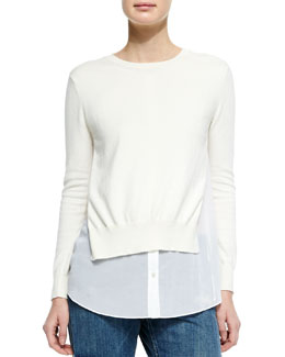 Deverlyn Sweater w/Poplin Underlay