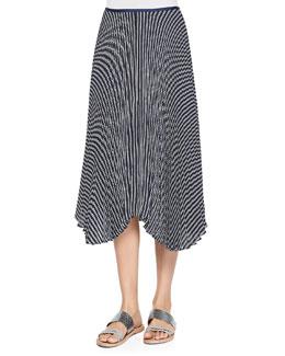 Zeyn Striped Pleated Silk Skirt